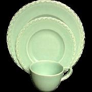 Vernon Kilns Green Set Plate Plates Cup California Pottery Saucer Mid Century