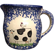 Vintage Blue White Spongeware Sponge Ware Milk Cream Pitcher Cow Kitchen Chicken