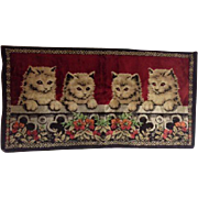 Vintage Brown Cat Kittens Kitty Wall Hanging Rug Tapestry Cats Flowers