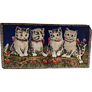 Vintage Striped Tiger Cat Kittens Kitty Wall Hanging Rug Tapestry Cats Flowers
