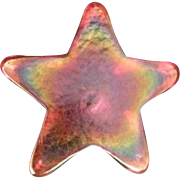 Robert Held Art Glass RHAG Red Pink Star Paperweight
