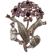 Vintage Pin Brooch Purple Rhinestone Floral Flower Bouquet Bling Costume Jewelry