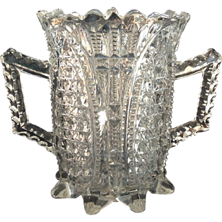 Pressed Glass Double Handled Vase Flower