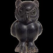 Vintage Tourist Mochica Peruvian Peru Pottery Owl Black Figural Vessel