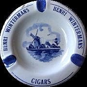 Vintage Blue White Windmill Dutch Delft Pottery Henri Wintermans Cigar Ashtray