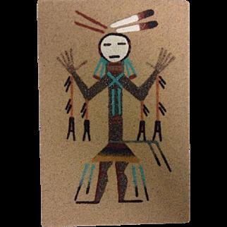 Navajo Sand Painting Signed Native American Art Original Small Healing