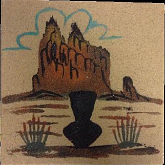 Navajo Sand Painting Signed Native American Art Original Small Shiprock