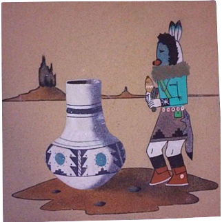 Navajo Sand Painting Signed Native American Art Original Kachina