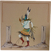 Navajo Sand Painting Signed Native American Art Original Kachina Dancer