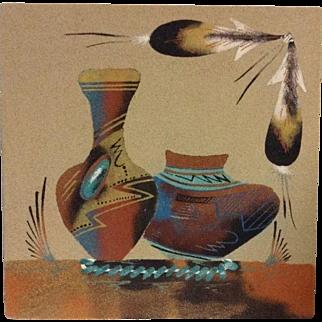 Navajo Sand Painting Signed Native American Art Original Pottery