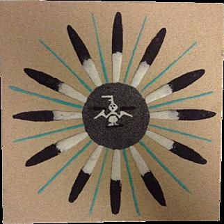 Navajo Sand Painting Signed Native American Art Original Small Sun Eagle