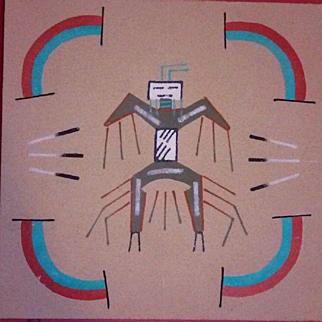 Navajo Sand Painting Signed Native American Art Original Thunder Dancer Begay