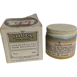 Antique Vintage Medicine Medical Doctor Iodex Henley Ointment Apothecary Remedy