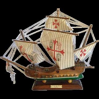 Vintage Wooden Model Tall Ship Carabela Santa Maria 1492 Wood Sailing