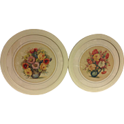 Pair of Vintage Round Framed Floral Botanical Prints Picture Crafts