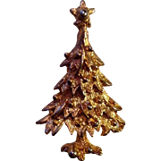 Vintage Gold-Toned Tree Brooch Pin Holiday Christmas Collectible Costume Jewelry