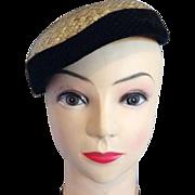 Ladies Faux Straw Velvet Netting Dress Hat Black