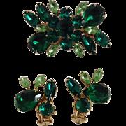 Vintage Green Rhinestone Costume Jewelry Set Brooch Pin Clip On Earrings St. Pat
