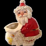 Napco Santa Planter Vintage Spaghetti Santa Figure Candy Cane Holder Nice