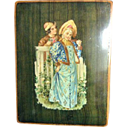 French Wooden Jewelry Trinket Locking Box Lovers Garden