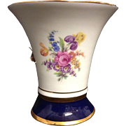Royal Dux Bohemia Czech Republic Floral Cobalt Gold Vase