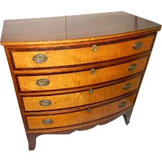 Tiger Maple & Mahogany Bow Front Chest