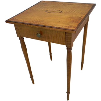 Tiger Maple Inlaid Side Table of New England Origin from the 19th Century