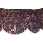 "1820""s French toile quilted valance in purple"