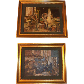 Pair of small civil war oil paintings on board unsigned