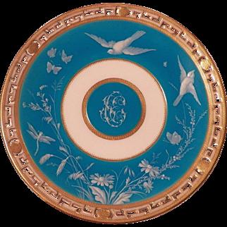 Minton Tiffany raised white enamel plate with pierced edging