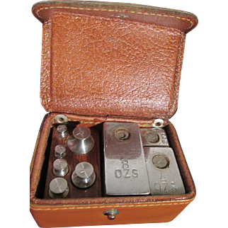 """Small leather box of scale weights  """"The Weight Scale Co."""""""
