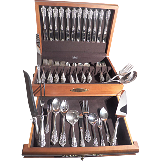 Wallace Grand Baroque dinner size sterling silver flatware set 88 pieces