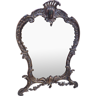 Vintage  ornate silver plate table top beveled edge mirror