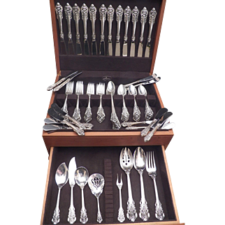 Grand Baroque by Wallace sterling silver flatware, service for 12 with 8 pieces and 8 additional serving pieces.