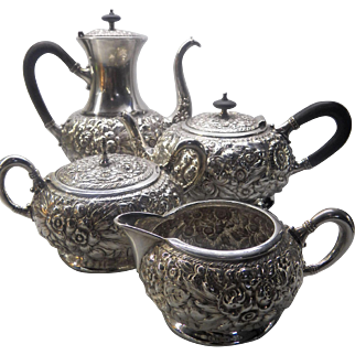 Ornate four piece silver plated tea set by Barbour