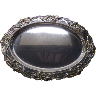 Ornate Reed and Barton sterling silver tray with iris pattern.