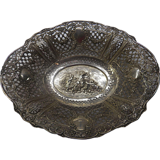 Large 800 silver bowl/ tray with cupids, flowers in baskets and garlands and more