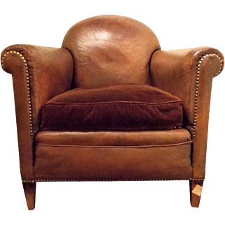 French Vintage Leather Club Chair
