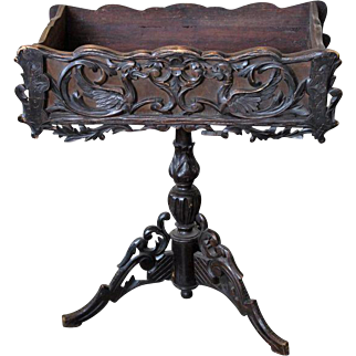 Carved Wood French Antique Plant Stand