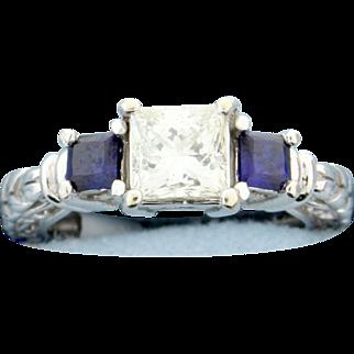 "1 carat Princess cut ""Leo"" Diamond Ring with Sapphires"