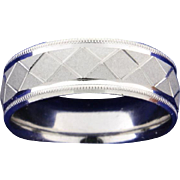 Platinum Engraved Pattern Band Ring