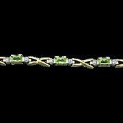 Peridot & Diamond Bracelet in 10k Yellow Gold