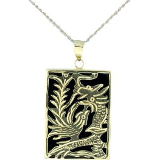 Asian Dragons or Birds Gold pendant with chain