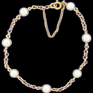 Cultured Pearl & Gold Link Bracelet