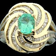 Emerald & Diamond 14k Yellow Gold Ring