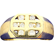 Contemporary Diamond 14k Yellow Gold Ring