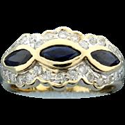 Sapphire & Diamond 14k Yellow Gold Ring