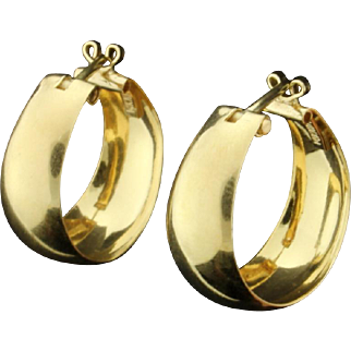 """Large Plain 5/16"""" wide Hoop Earrings"""