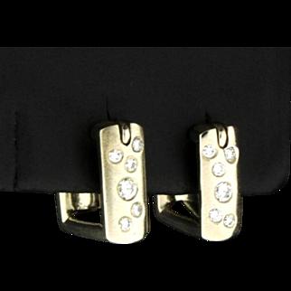 14K Huggie Style Diamond Square Hoop Earrings