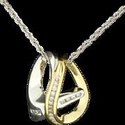 Diamond Tutone 14K Slide & Chain